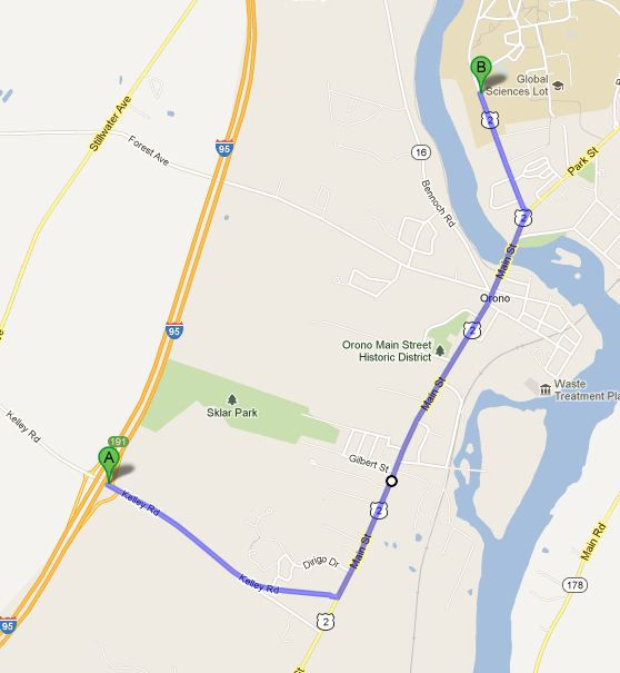 Map showing route from Exit 191 on I-95 to 160 College Ave. (Buchanan Alumni House)